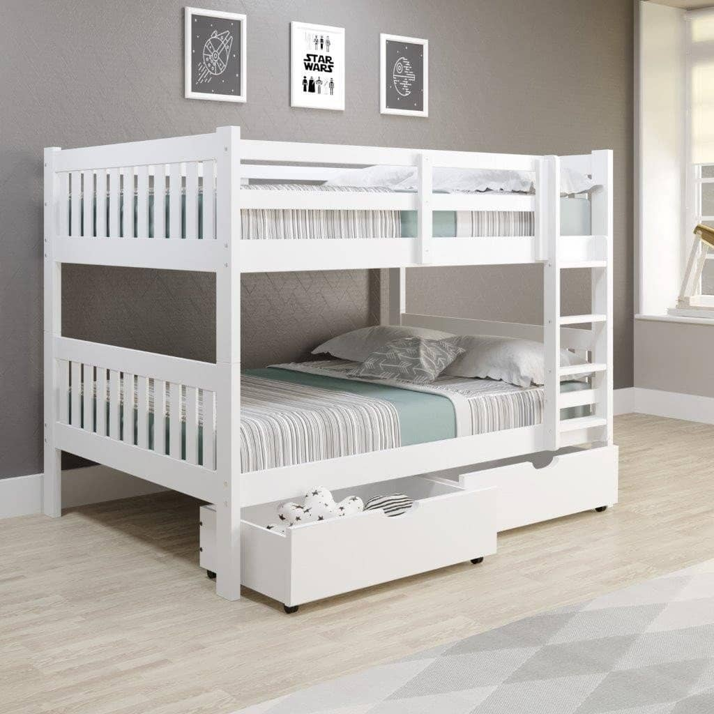 Max Full Size White Bunk Bed with Storage Custom Kids Furniture