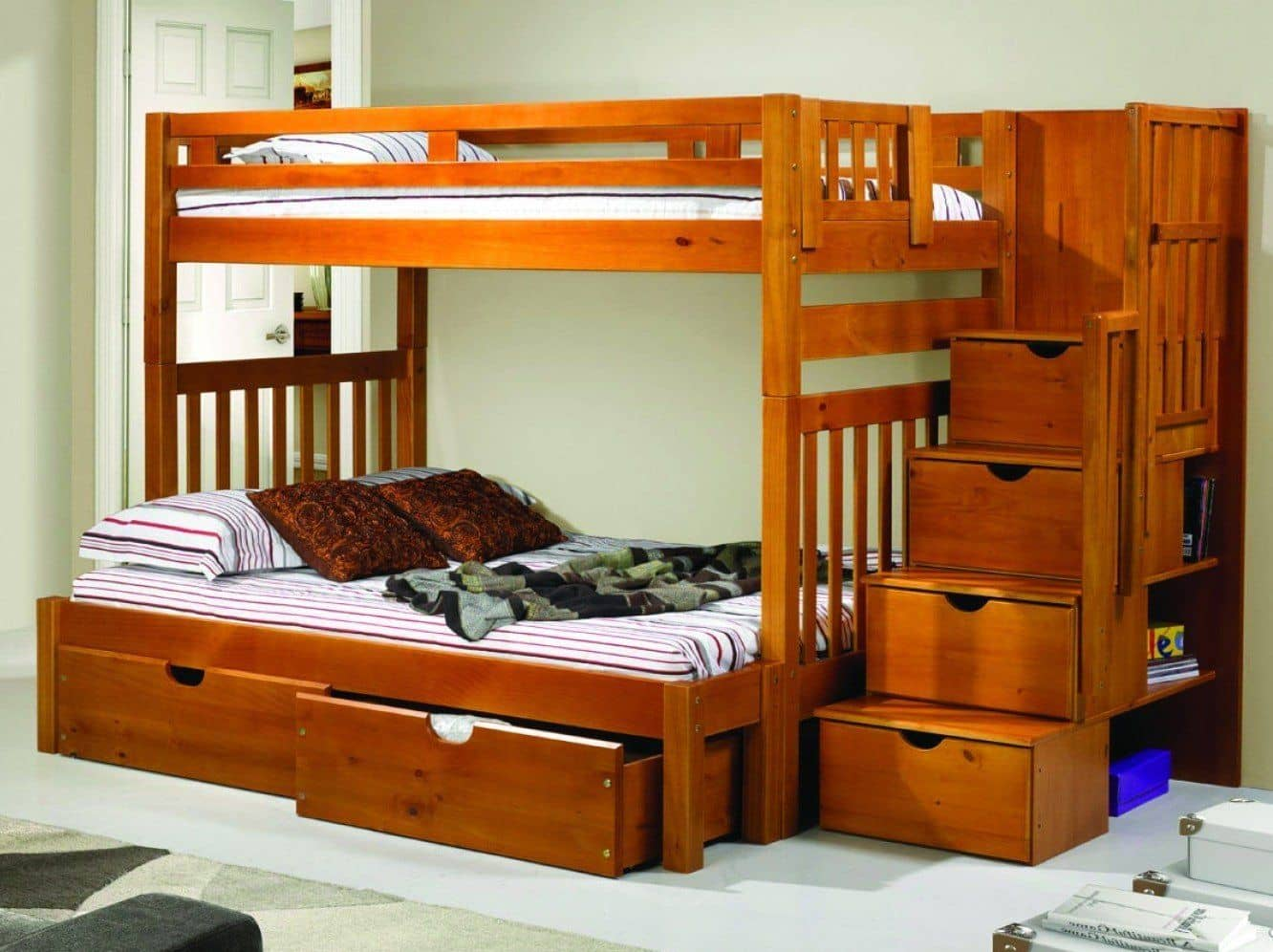 Picture of: Michael Honey Twin Over Full Youth Bunk Bed With Storage And Shelves