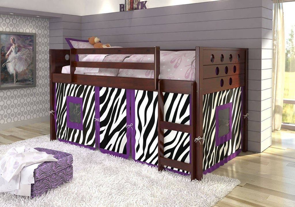 Mila Loft with Purple Zebra Tent Custom Kids Furniture