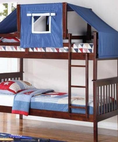 Miles Cappuccino Bunk Bed with Blue Tent Kit Custom Kids Furniture