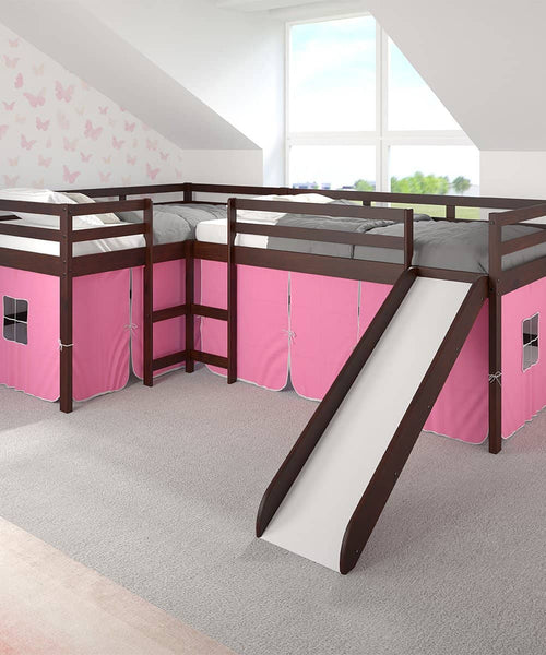 Molly L-Shape Corner Loft Bed with Slide & Pink Tent Custom Kids Furniture