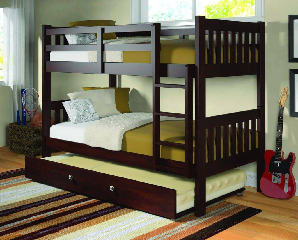 Morgan Cappuccino Bunk Bed with Trundle Custom Kids Furniture