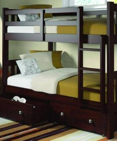 Morgan Modern Cappuccino Bunk Bed with Storage Custom Kids Furniture