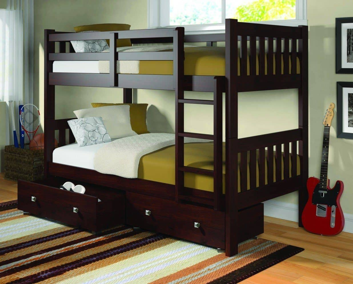 Morgan Modern Cappuccino Bunk Bed With Storage