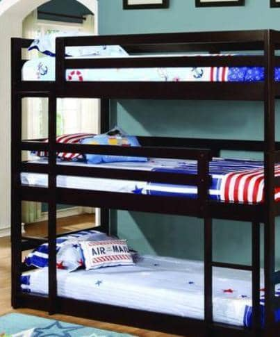 Nicholas Cappuccino Convertible Triple Bunk Bed Custom Kids Furniture