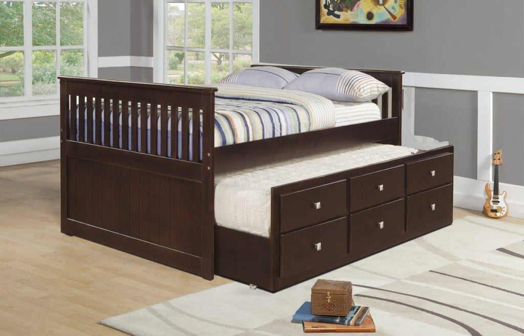 Owen Full Size Captains Bed with Storage and Trundle Custom Kids Furniture