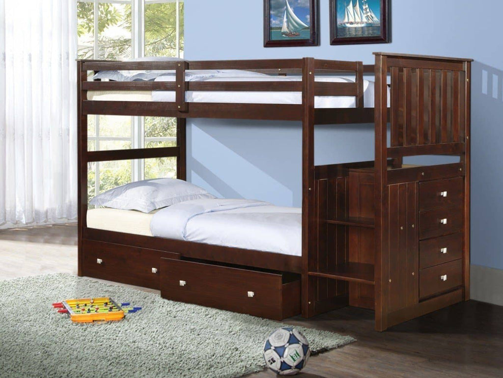 Parker Cappuccino Bunkbed with Stairs and Storage Custom Kids Furniture