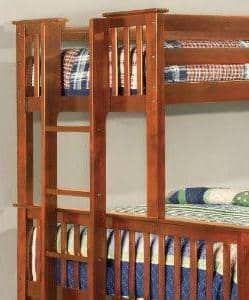 Penelope Twin XL over Queen Oak Captains Bunk Bed Custom Kids Furniture