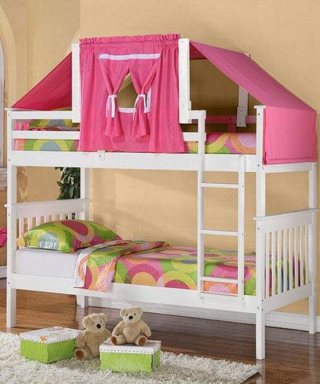 Reagan White Bunk Bed with Pink Tent Custom Kids Furniture