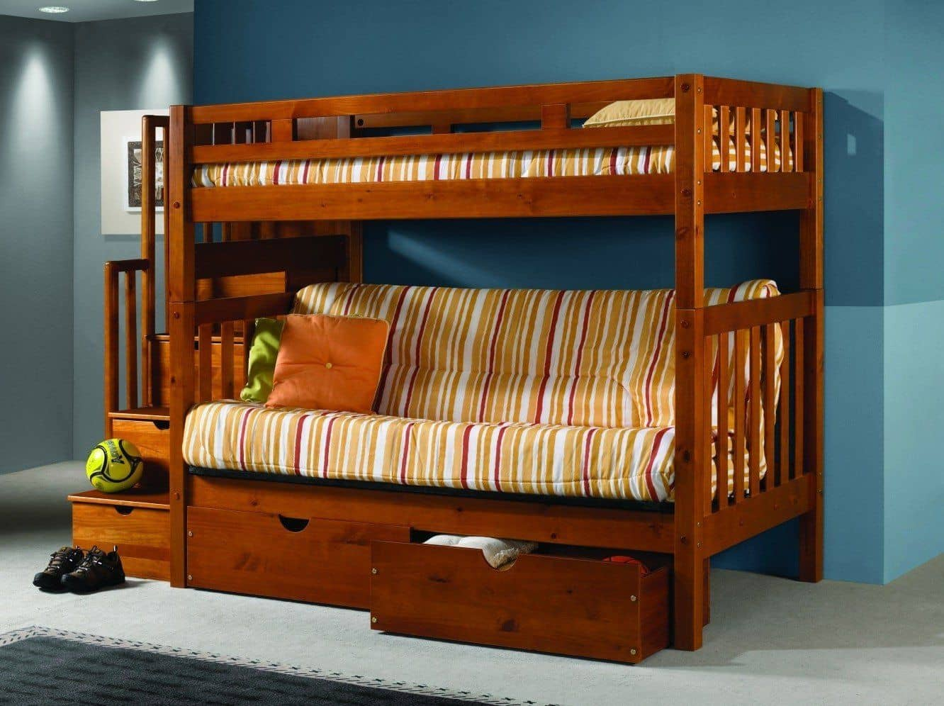 Picture of: Ryan Honey Bunk Bed With Futon Stairs And Storage
