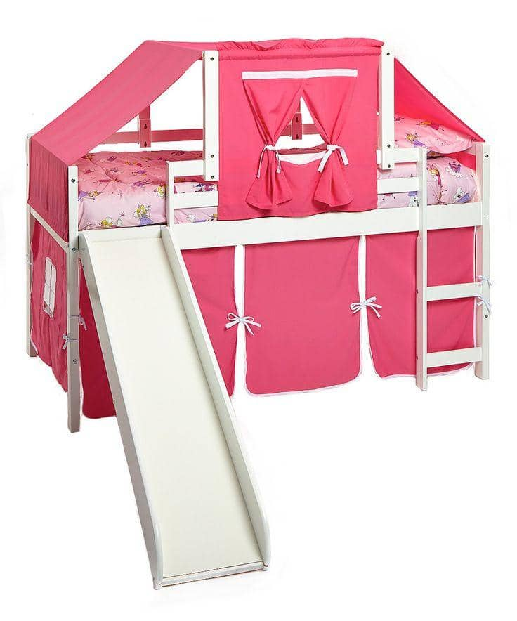 Savannah White Loft Bed with Slide Custom Kids Furniture