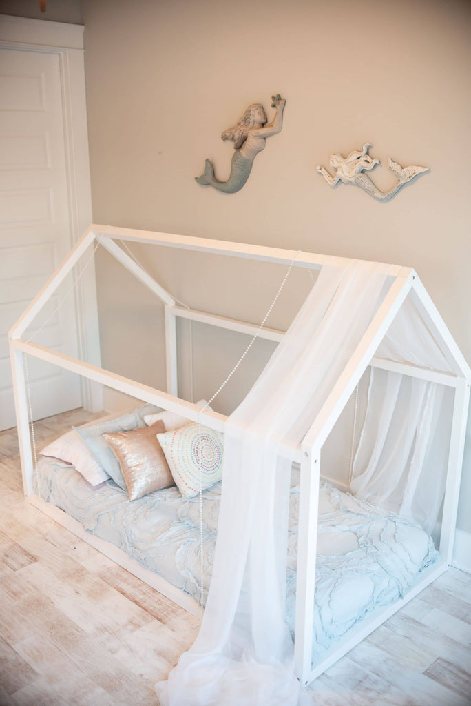 Sophia Toddler Floor Bed in White Custom Kids Furniture