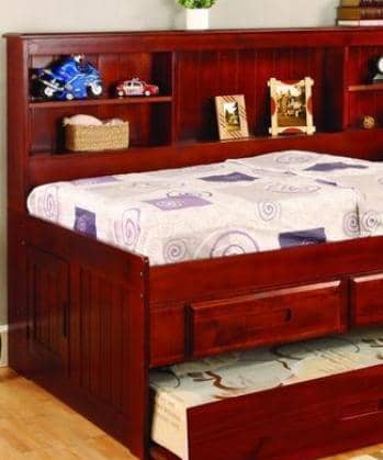 Sophie Daybed with Bookcase Headboard, Trundle, and Three Storage Drawers Custom Kids Furniture