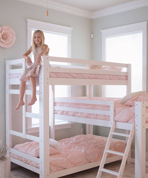 Sydney L-Shaped Triple Bunk Bed in White Custom Kids Furniture