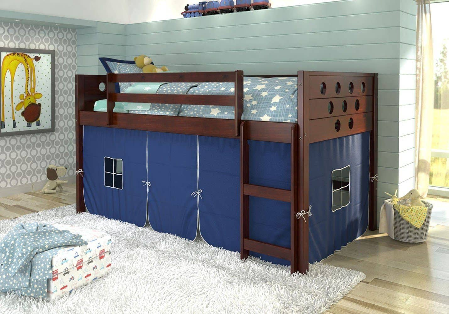 Picture of: Tristan Loft Bed With Blue Tent