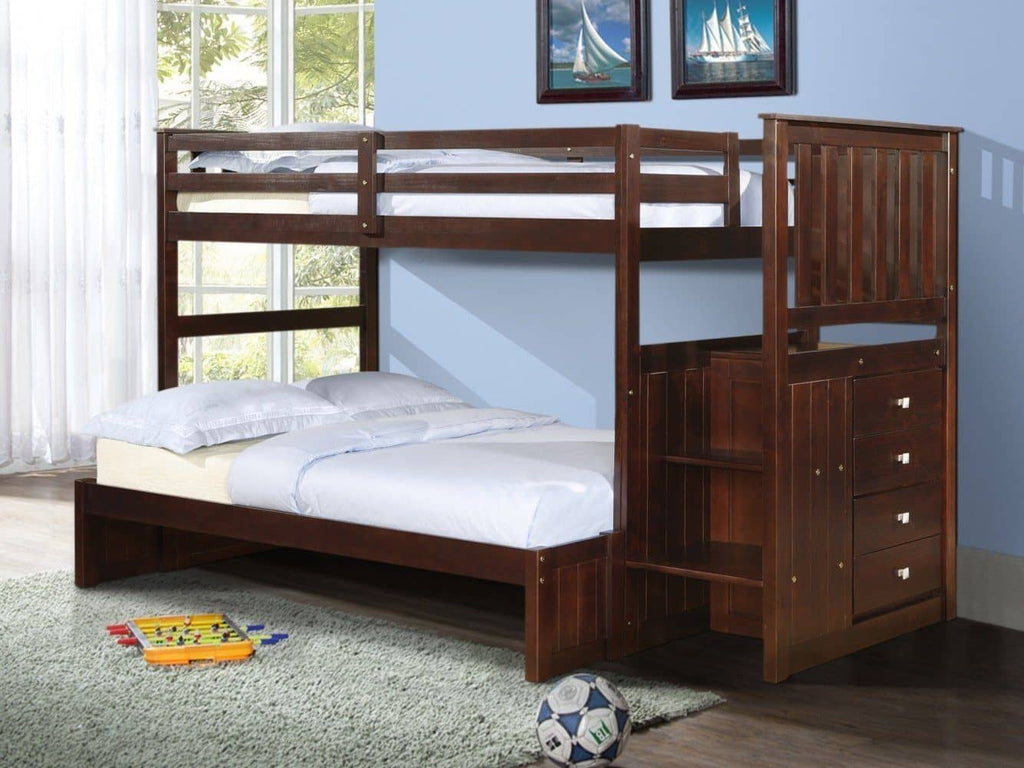 Xander Cappuccino Bunk Bed with Stairs Custom Kids Furniture