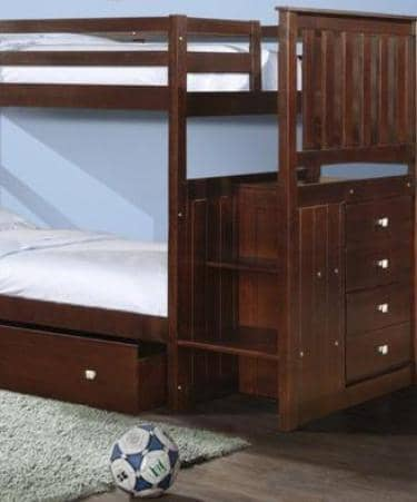 Xander Cappuccino Bunk Bed with Stairs & Storage Custom Kids Furniture