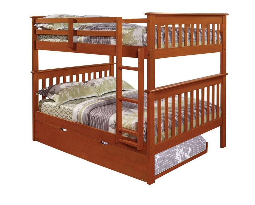 Zachary Full Espresso Bunk Beds for Kids with Trundle Custom Kids Furniture