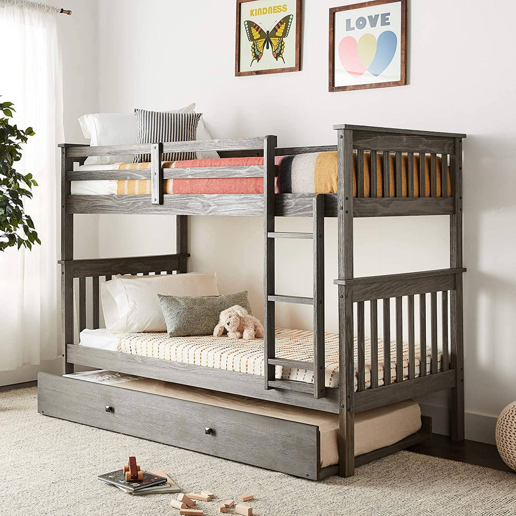 Zoe Modern Bunk Bed with Trundle Custom Kids Furniture