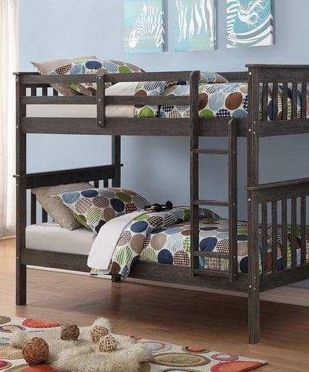 Zoe Modern Gray Bunk Bed Custom Kids Furniture