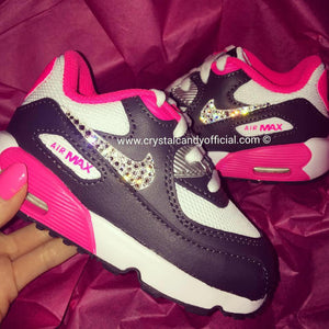 CRYSTAL KIDS/BABY PINK & BLACK NIKE AIR MAX 90'S (TICKS ONLY)