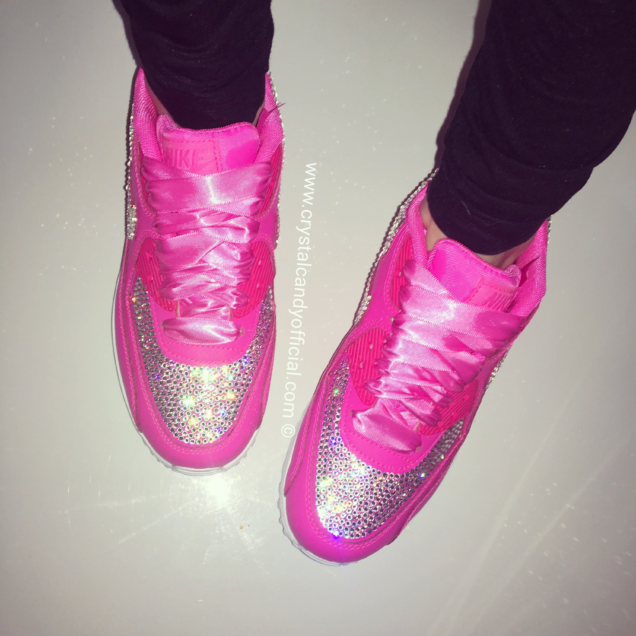 sports shoes b2ea8 8342a Crystal Nike Air Max 90 s in Barbie Pink (Fully Crystallised) - Crystal  Candy Limited