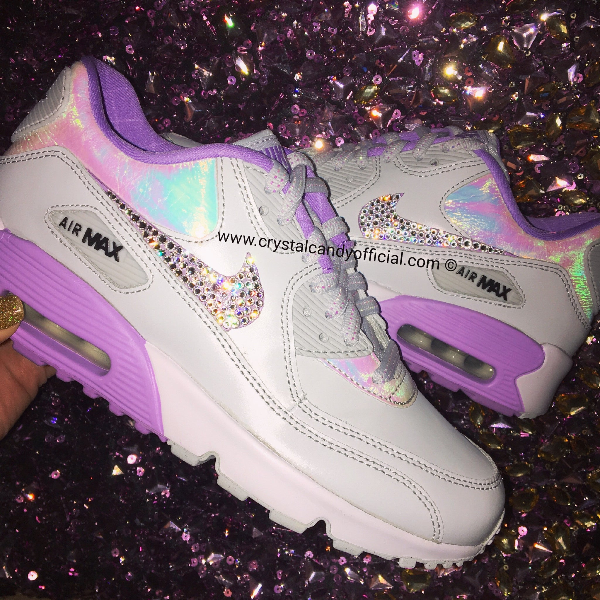 5bef0f4ebc0 Crystal Nike Air Max 90 s in Unicorn Holographic - Crystal Candy Limited