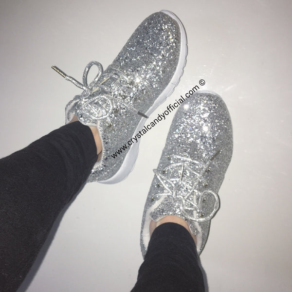 SILVER CANDY - GLITTER TRAINERS