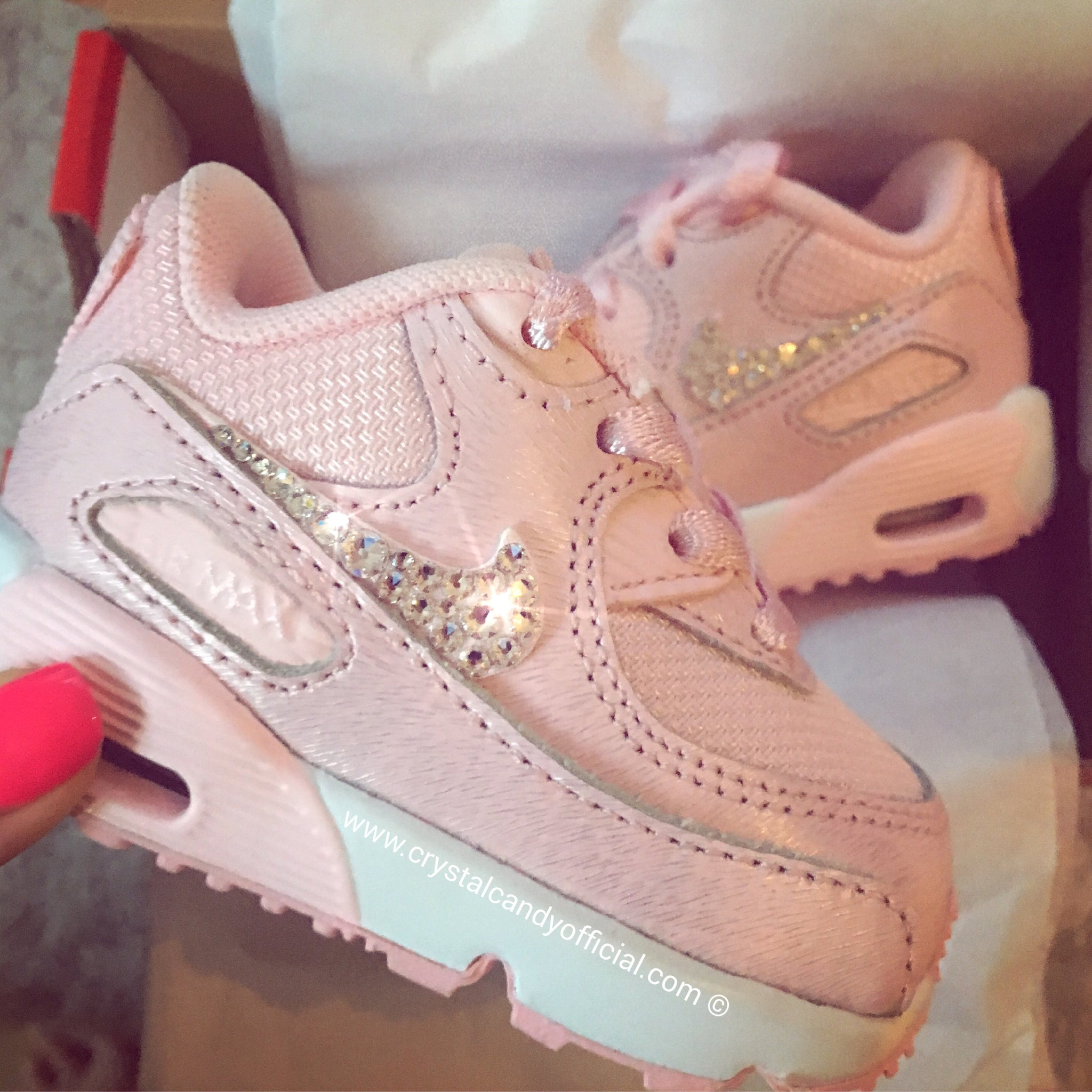 74741cb4d407 Crystal Kids Baby Pink Nike Air Max 90 s - Crystal Candy Limited