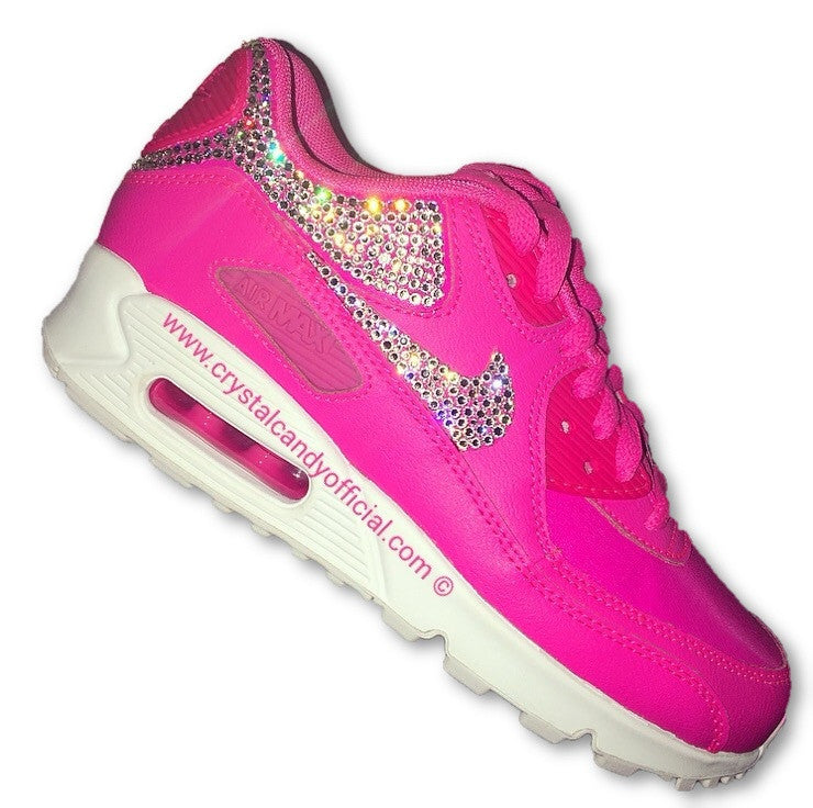 f07e8d7f69d Crystal Nike Air Max 90's in Barbie Pink (Backs & Ticks)