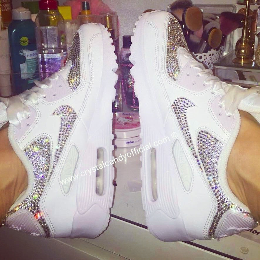 cc2cb5bf21e6 Crystal Nike Air Max 90 s in White (fully crystallised) - Crystal ...