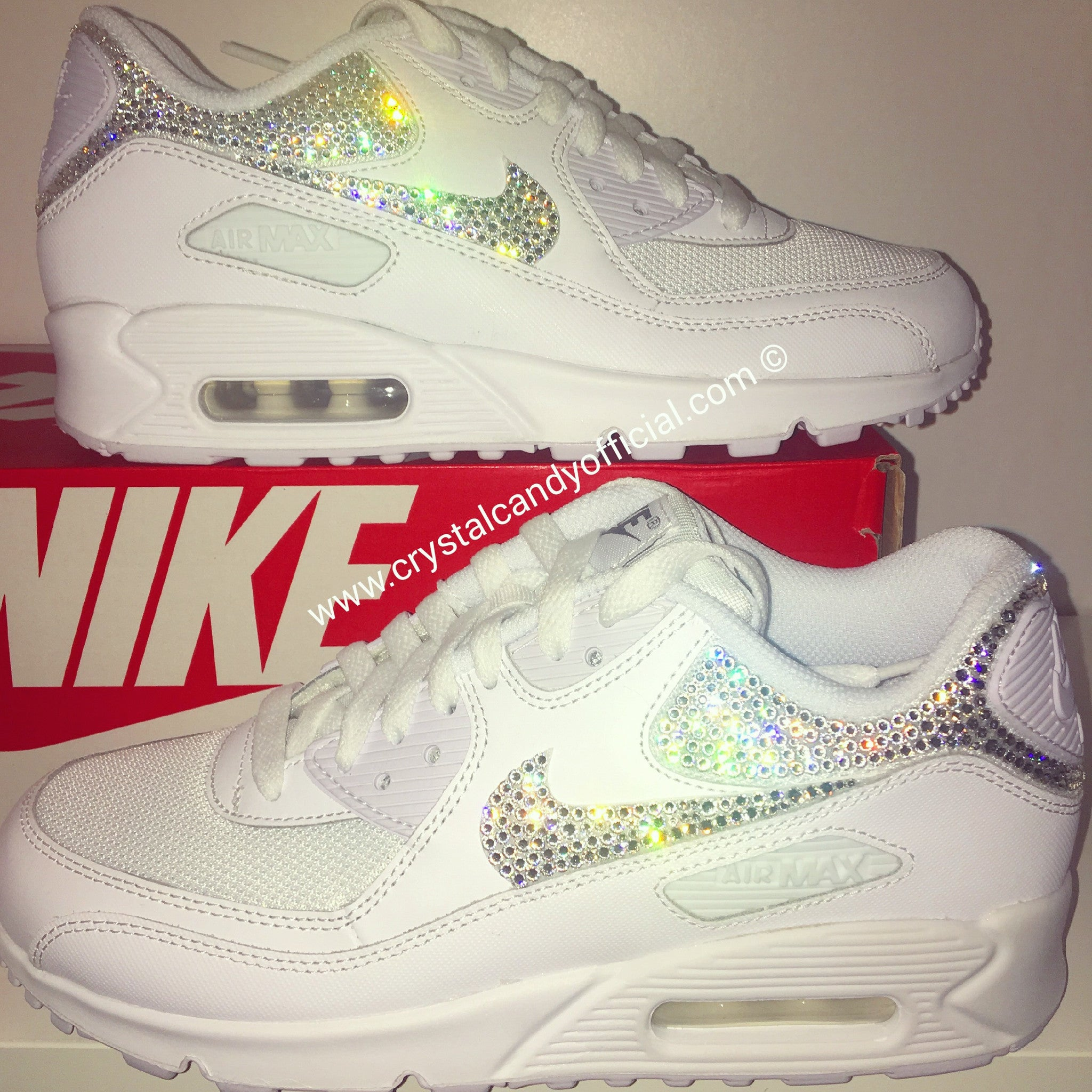 Crystal Nike Air Max 90 s in White (backs   ticks) 950e5a047863
