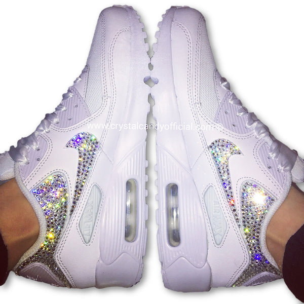 Crystal Nike Air Max 90 s in White (backs   ticks) - Crystal Candy Limited 993789e4a1