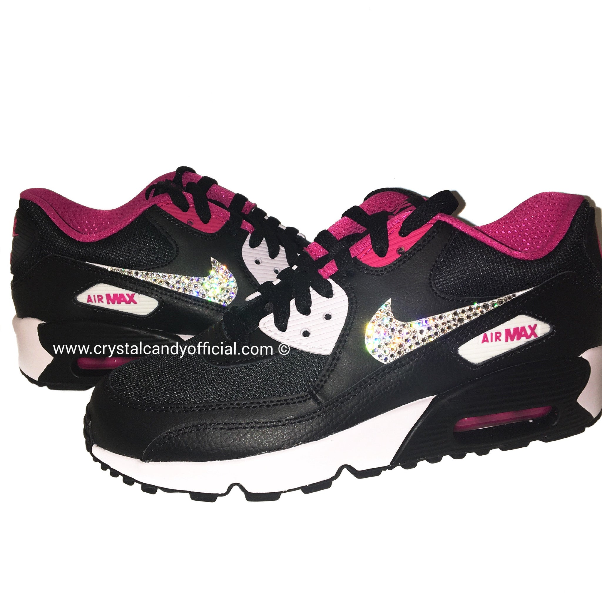 a61b263a0fe Crystal Nike Air Max 90's in Black & Pink