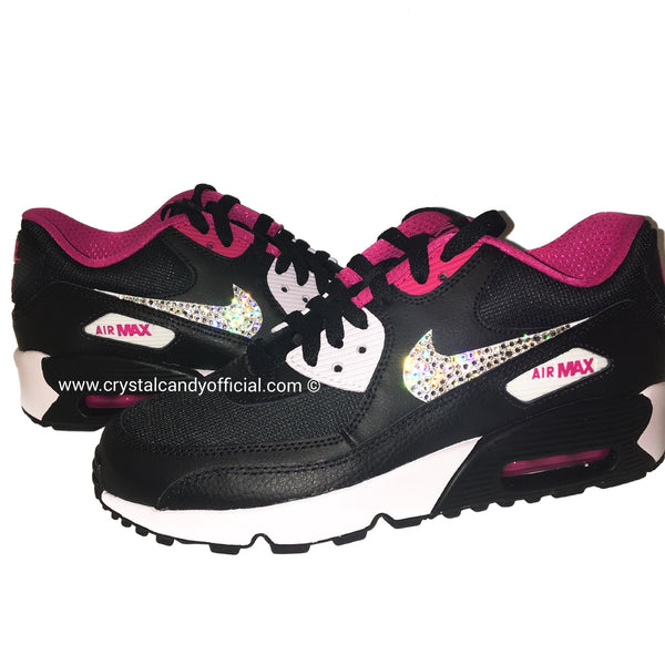 Crystal Nike Air Max 90's in Black & Pink