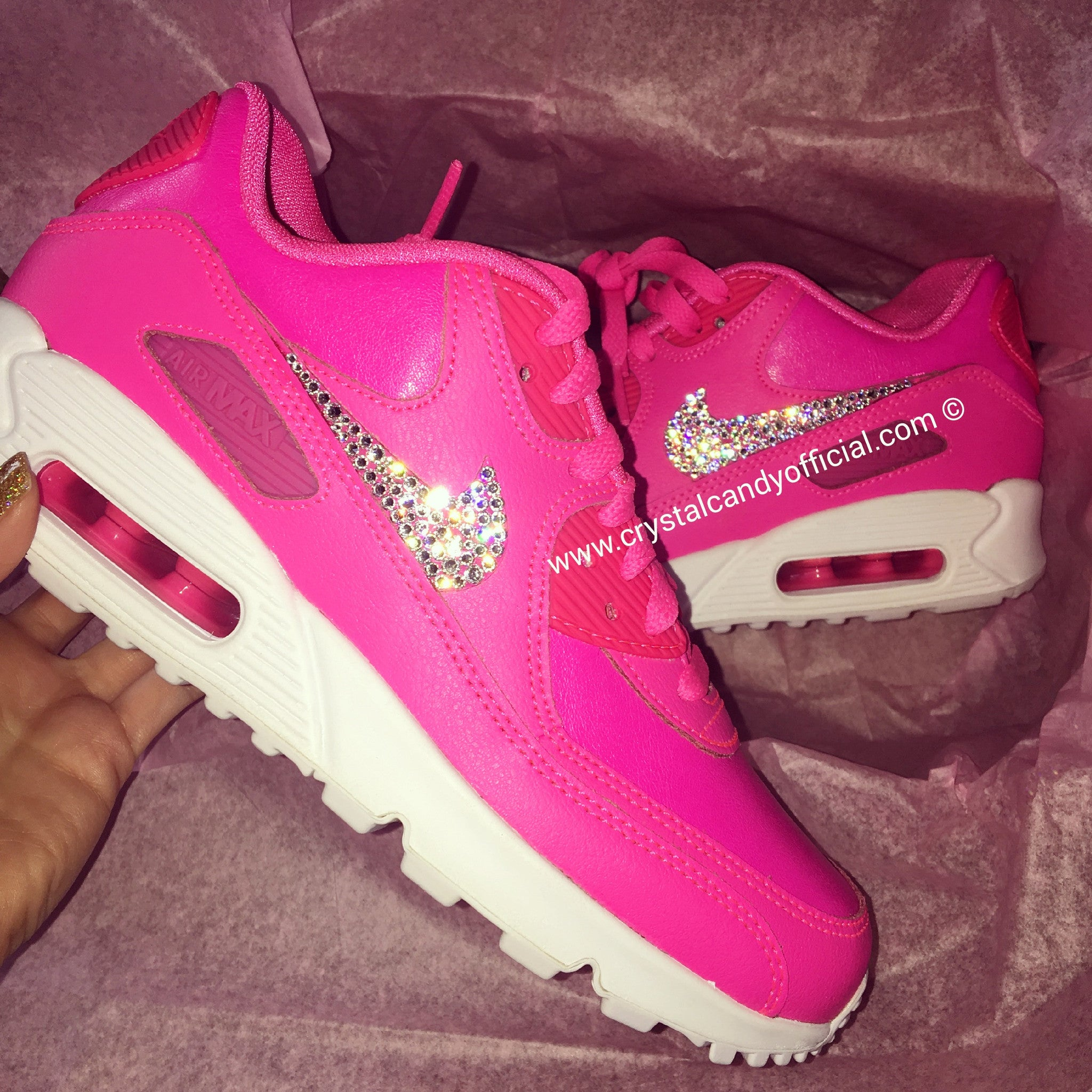 size 40 3c14f 0d572 Crystal Nike Air Max 90 s in Barbie Pink - Crystal Candy Limited