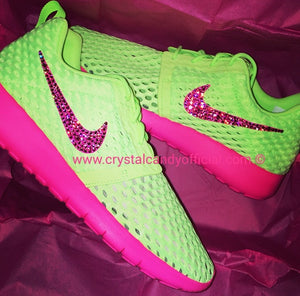 Crystal Nike Roshe Run in Neon Green & Pink