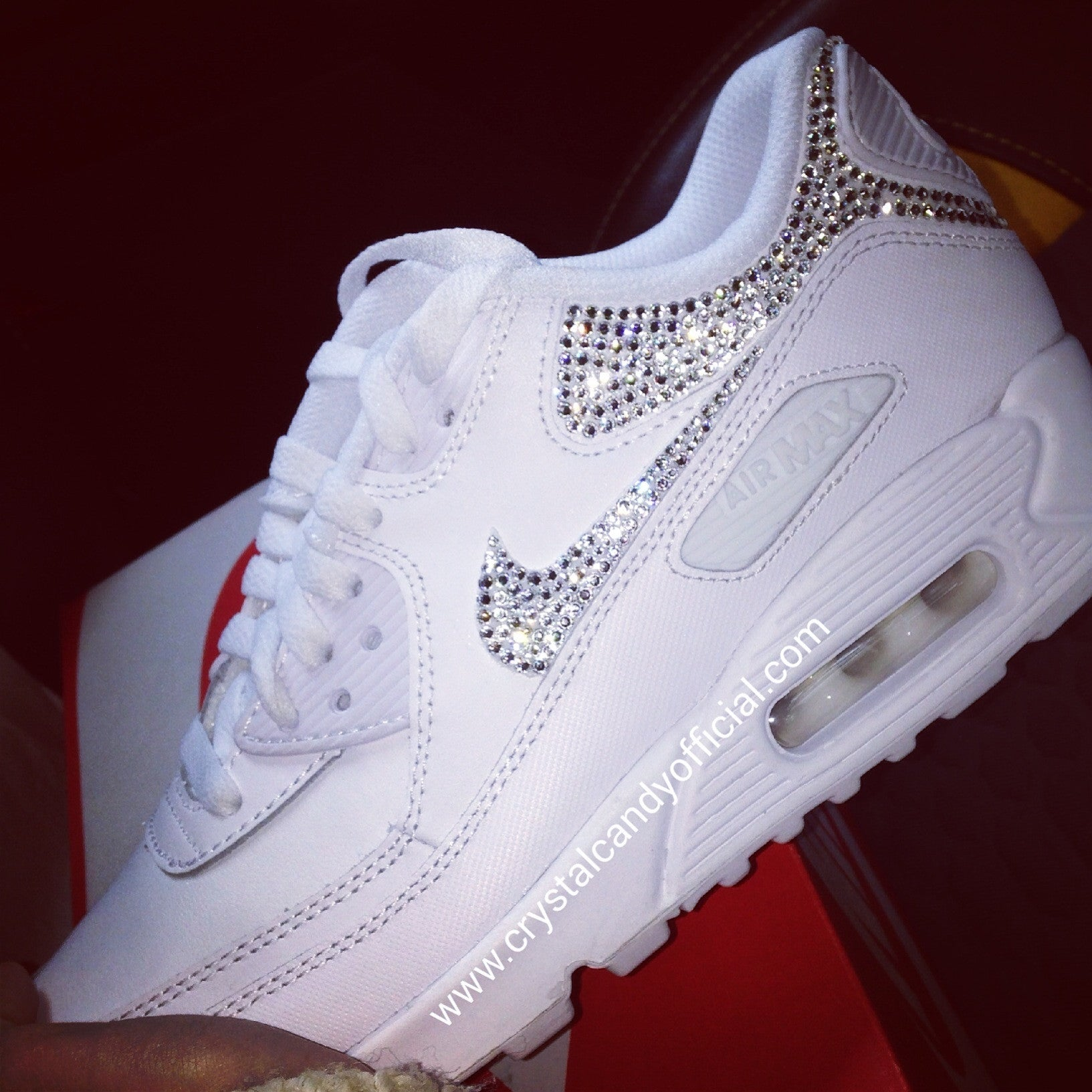 2597e51092f7f6 Crystal Nike Air Max 90 s in White (backs   ticks) - Crystal Candy ...