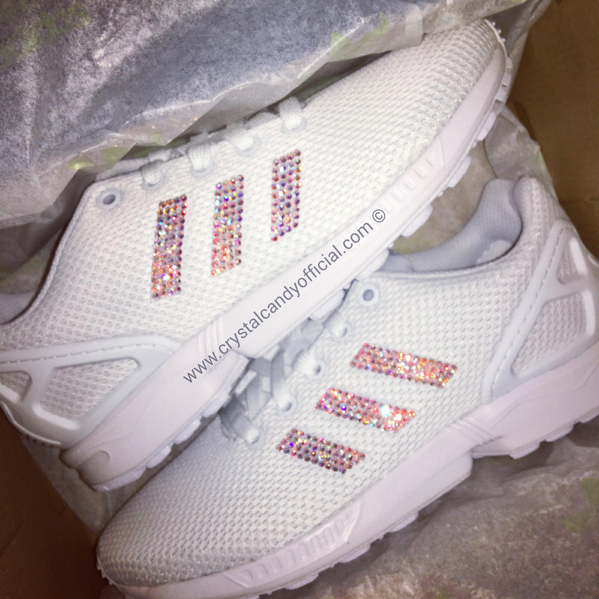 Crystal Adidas Flux in White - Crystal