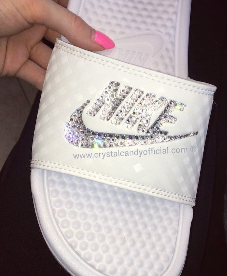 Crystal Nike Benassi Slide Sandals in White - Crystal Candy Limited 426080e0e1e0