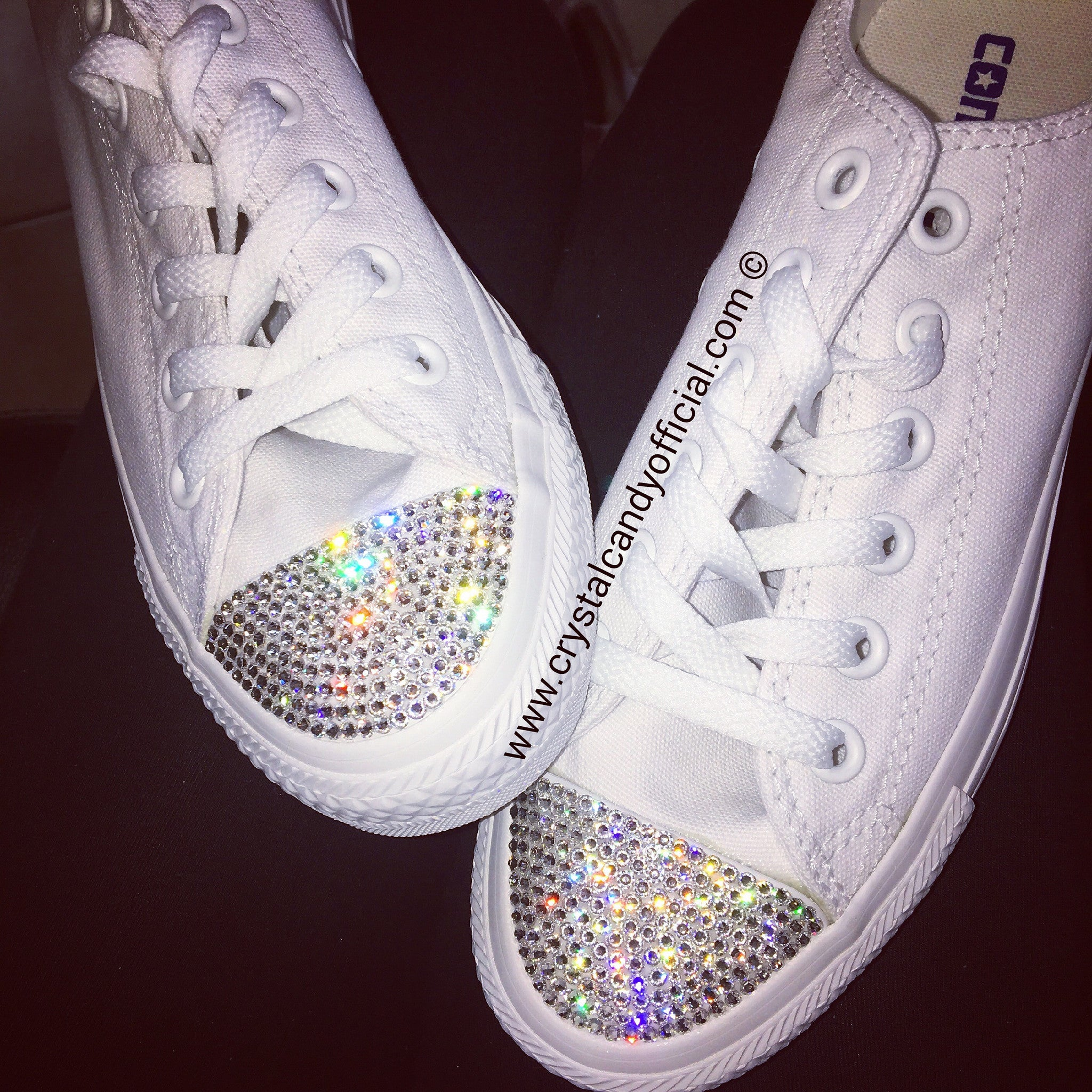 f0b2a8a13e4b62 Crystal Converse in White Mono - Crystal Candy Limited