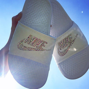 Crystal Nike Benassi Slide Sandals in White