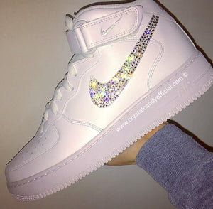 [CUSTOM] Crystal Nike Air Force 1 in White (Mid)