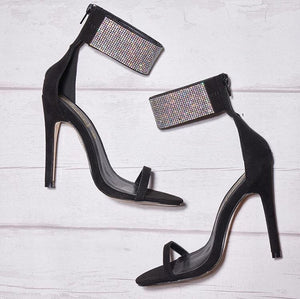 'Chrystal' Diamanté Ankle Black Heels