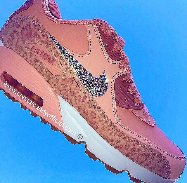 e313b7a69080 Crystal Nike Air Max 90 s in Nude Pink Leopard - Crystal Candy Limited
