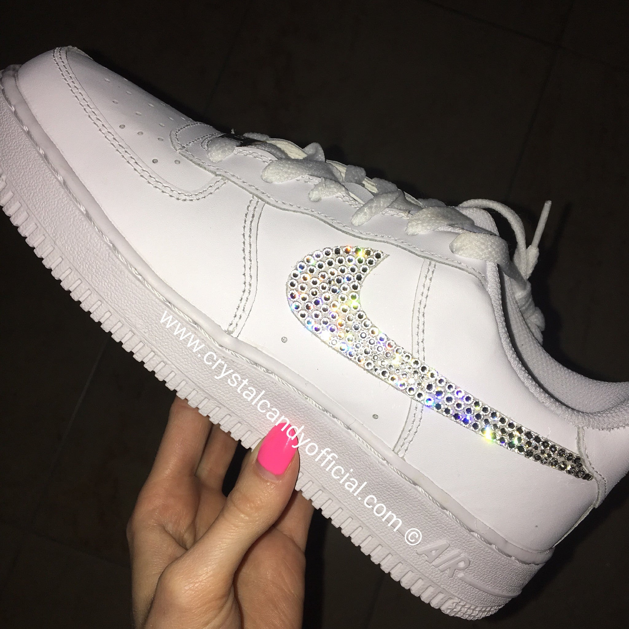 buy popular 95aea 15ee4 Crystal Nike Air Force 1 in White (Low) - Crystal Candy Limi