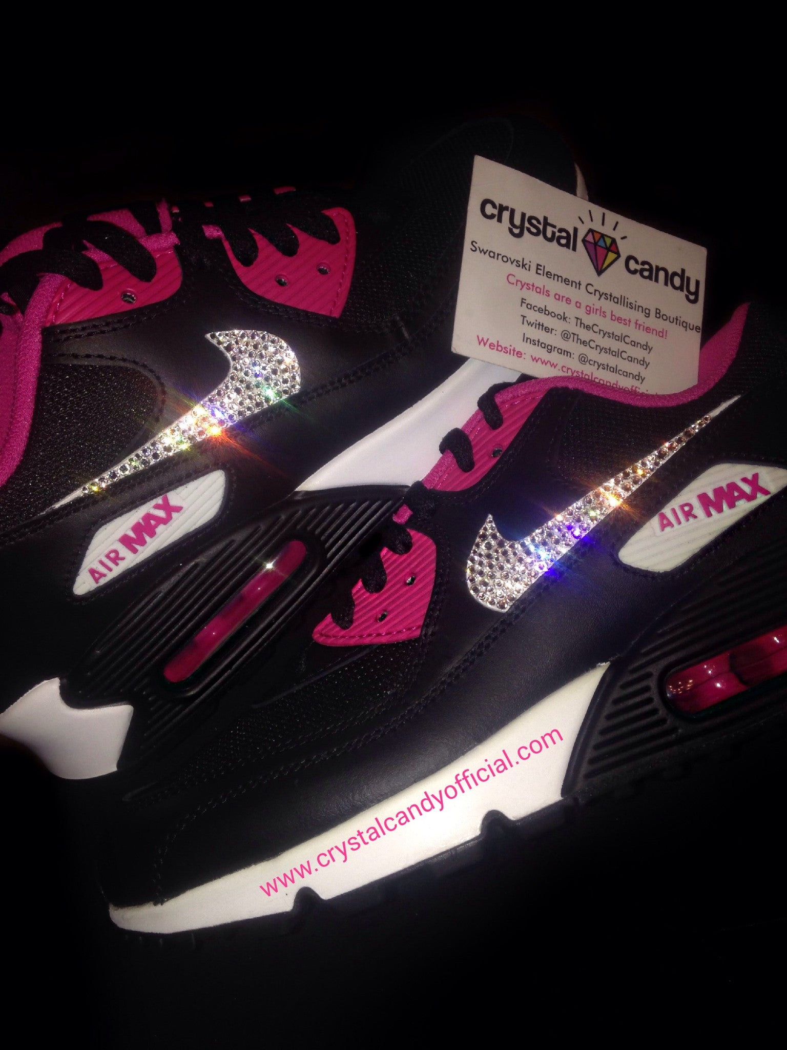 save off 62525 3bc2e Crystal Nike Air Max 90s in Black  Pink