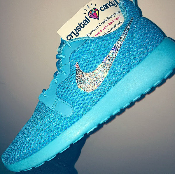 Crystal Nike Roshe Run in Neon Blue