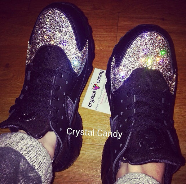 Crystal Nike Huarache in Black