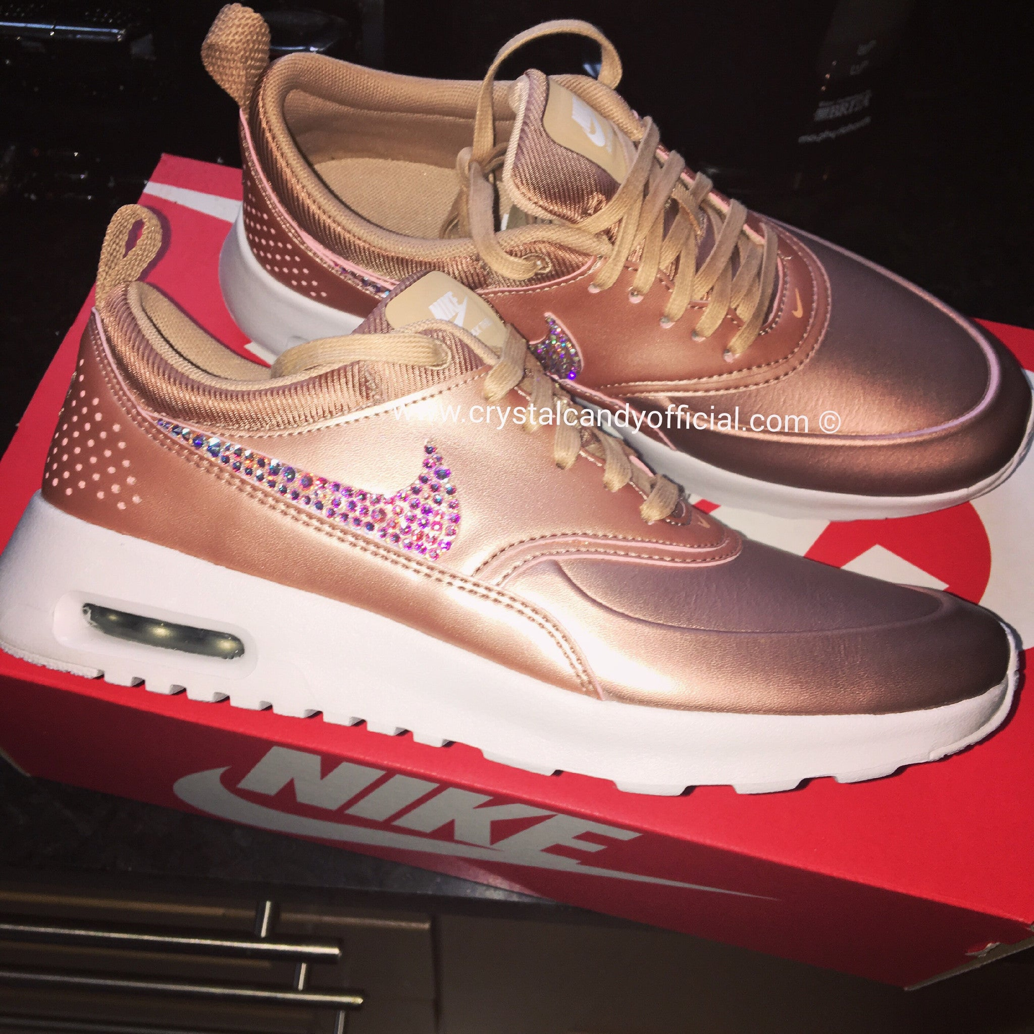 86c7b8abe63d Crystal Nike Thea in Rose Gold - Crystal Candy Limited